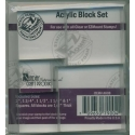 Acrylic Stamping Blocks, Squares, Set of 5