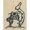 Kitty Cat w/Bird Rubber Stamp