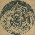 Nativity in Circle Border Rubber Stamp